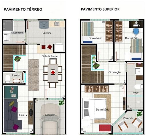 Plantas-de-casas-com-3-quartos-e-2-andares