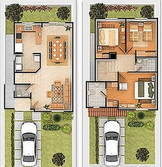 Plantas de casas com 3 quartos e 2 andares