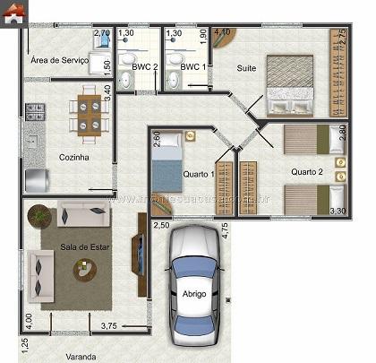 Plantas-de-casas-com-3-quartos-e-2-banheiros