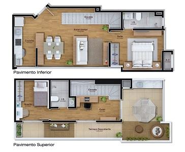 Plantas-de-casas-duplex-com-2-quartos