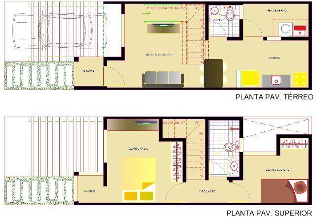 Plantas de casas duplex com 2 quartos