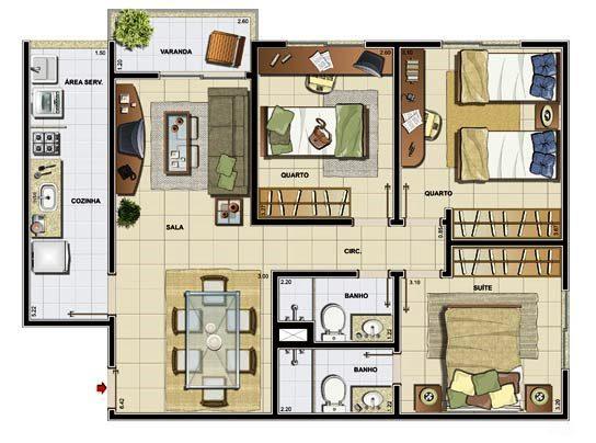 Plantas-de-casas-modernas-3-quartos