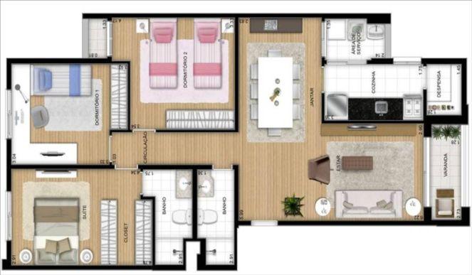 Plantas de casas modernas 3 quartos