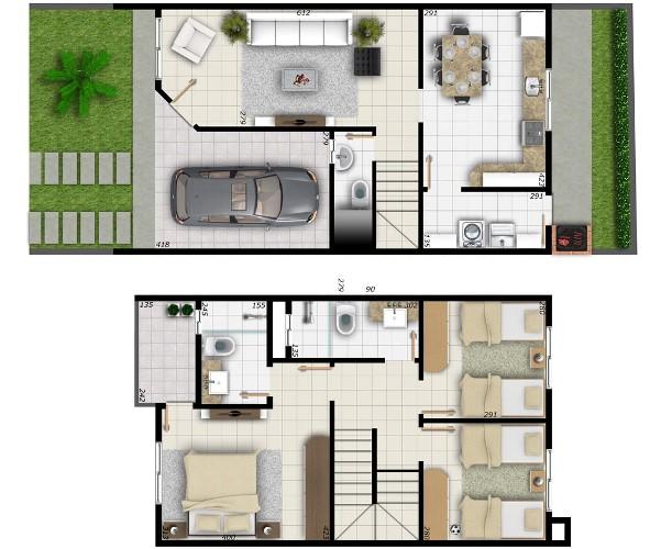 Plantas de casas modernas de 2 andares decorando casas for Casas modernas 120m2