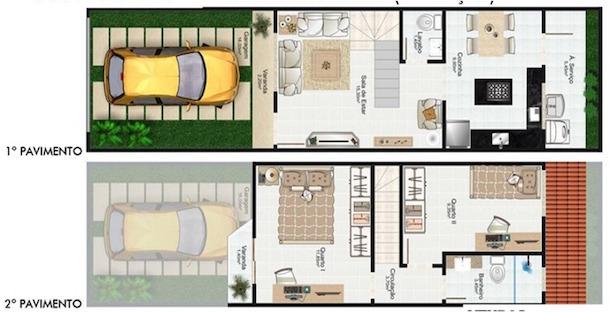 Plantas de casas modernas de 2 andares e garagem