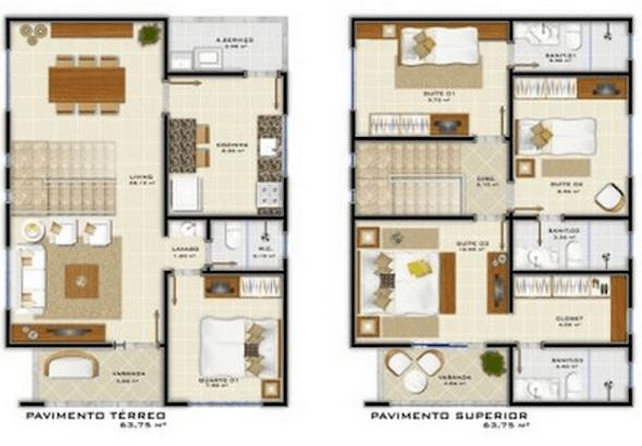 Plantas de casas modernas de 2 andares