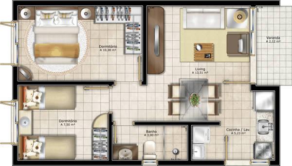 Plantas de casas pequenas com 2 quartos