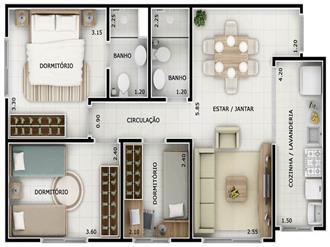 Plantas-de-casas-térreas-com-3-quartos