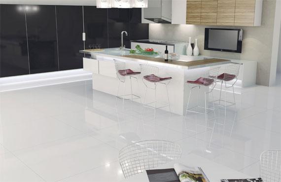 Cozinha com porcelanato branco decorando casas for Porcelanato rectificado