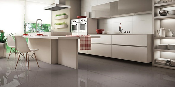 Cozinha com porcelanato branco decorando casas for Pisos porcelanatos fotos