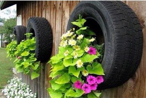 Como fazer um jardim com pneus simples