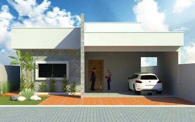 Fachadas de casas pequenas com telhado embutido for Fachadas pequenas