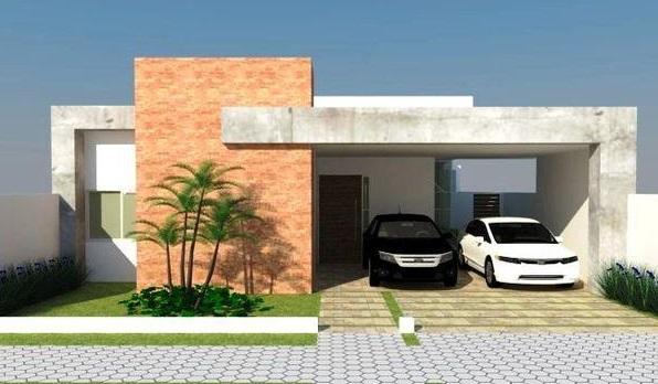 Fachadas de casas pequenas com telhado embutido e garagem