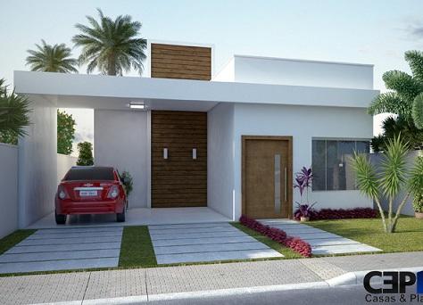 Fachadas de casas pequenas com telhado embutido for Planos de casas minimalistas pequenas