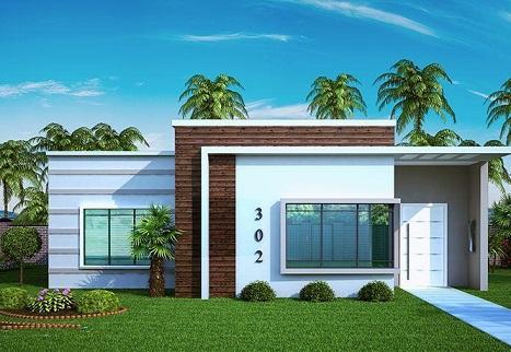 Fachadas de casas pequenas com telhado embutido