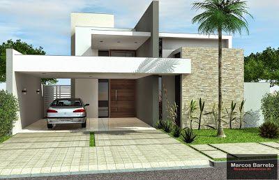 Casas com telhado embutido com varanda