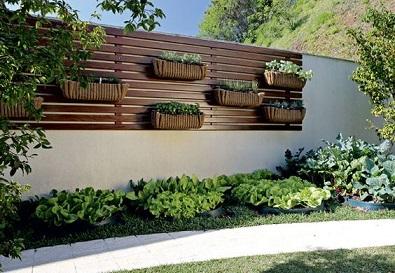 Muros decorados com vasos de plantas