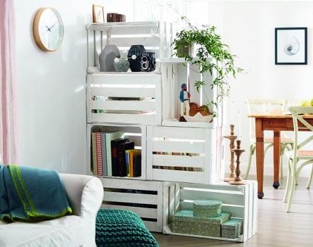 Decoração de sala com caixotes