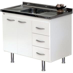 Gabinete de cozinha com pia em aço
