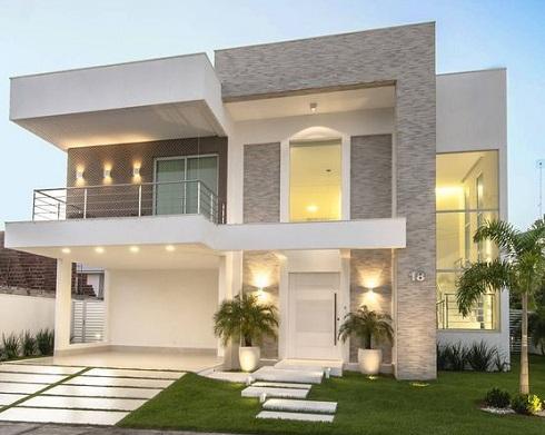 Fachadas de casas com cores claras decorando casas for Modelos de fachadas para frentes de casas